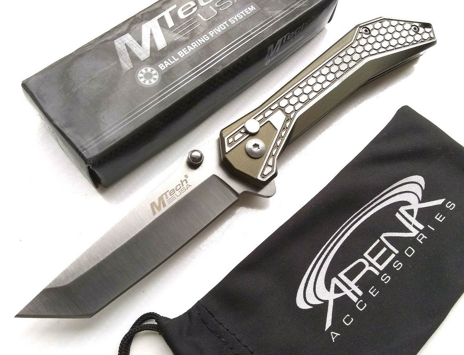 MTech Manual Button Lock Ball Bearing Pivot Pocket Knife Tanto Satin Blade EDC Green