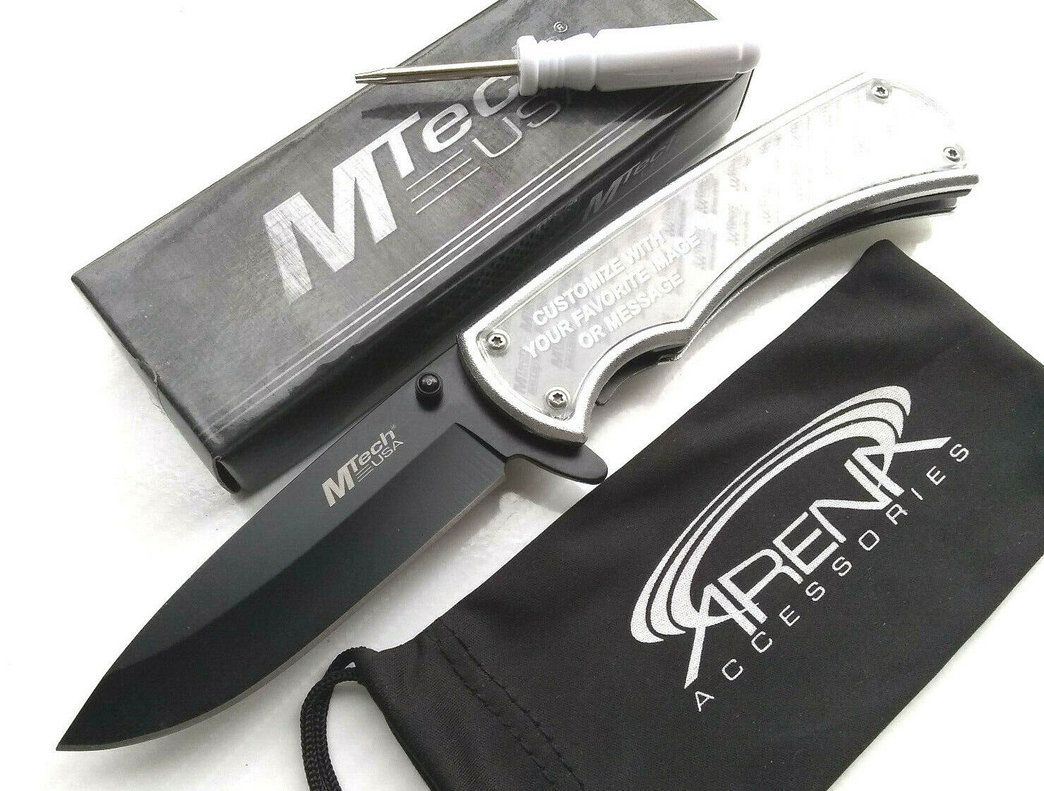 MTech Silver Self Customizable Photo Logo Memo Pocket Knife Spring Assisted EDC Promo Great Gift Idea