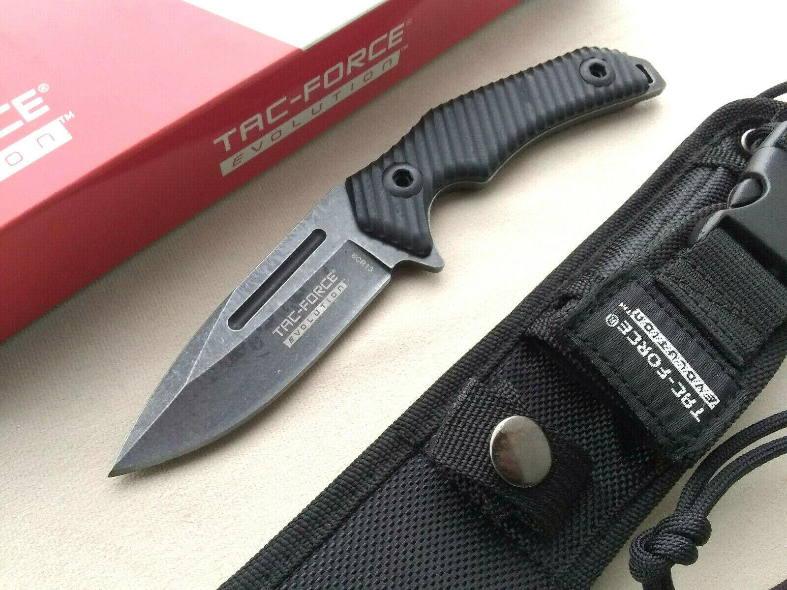 Tac-Force Evolution 4mm Thick Horizontal Concealed Carry Fixed Blade Knife G10 8Cr13 With Sheath Stonewashed EDC