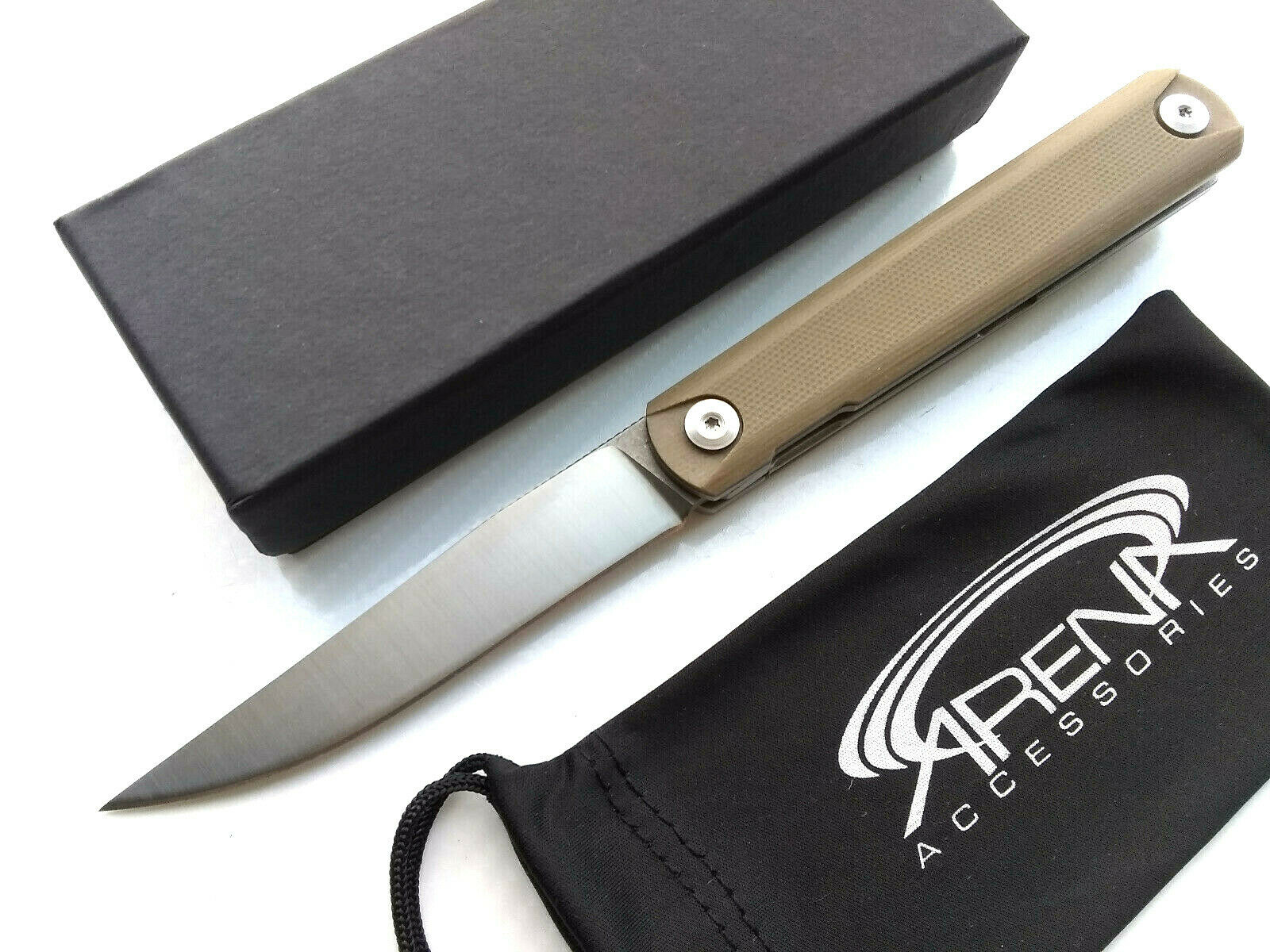 Ball Bearing Pivot Front Flipper Pocket Knife 9Cr18MoV Blade Tan G10 Handle EDC
