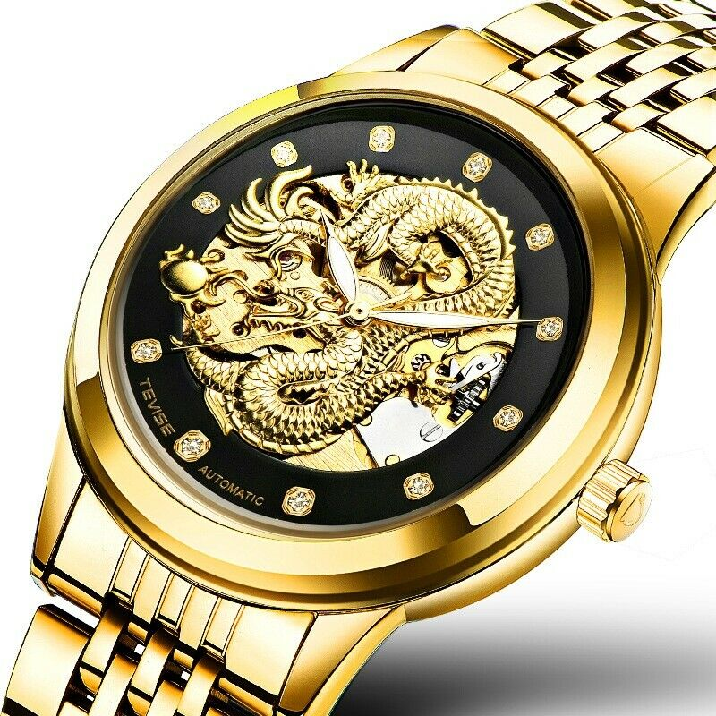 Men's Tevise Skeleton Automatic Mechanical Wrist Watch 3D Dragon Luxury Lume 9006G Gift Gold & Black