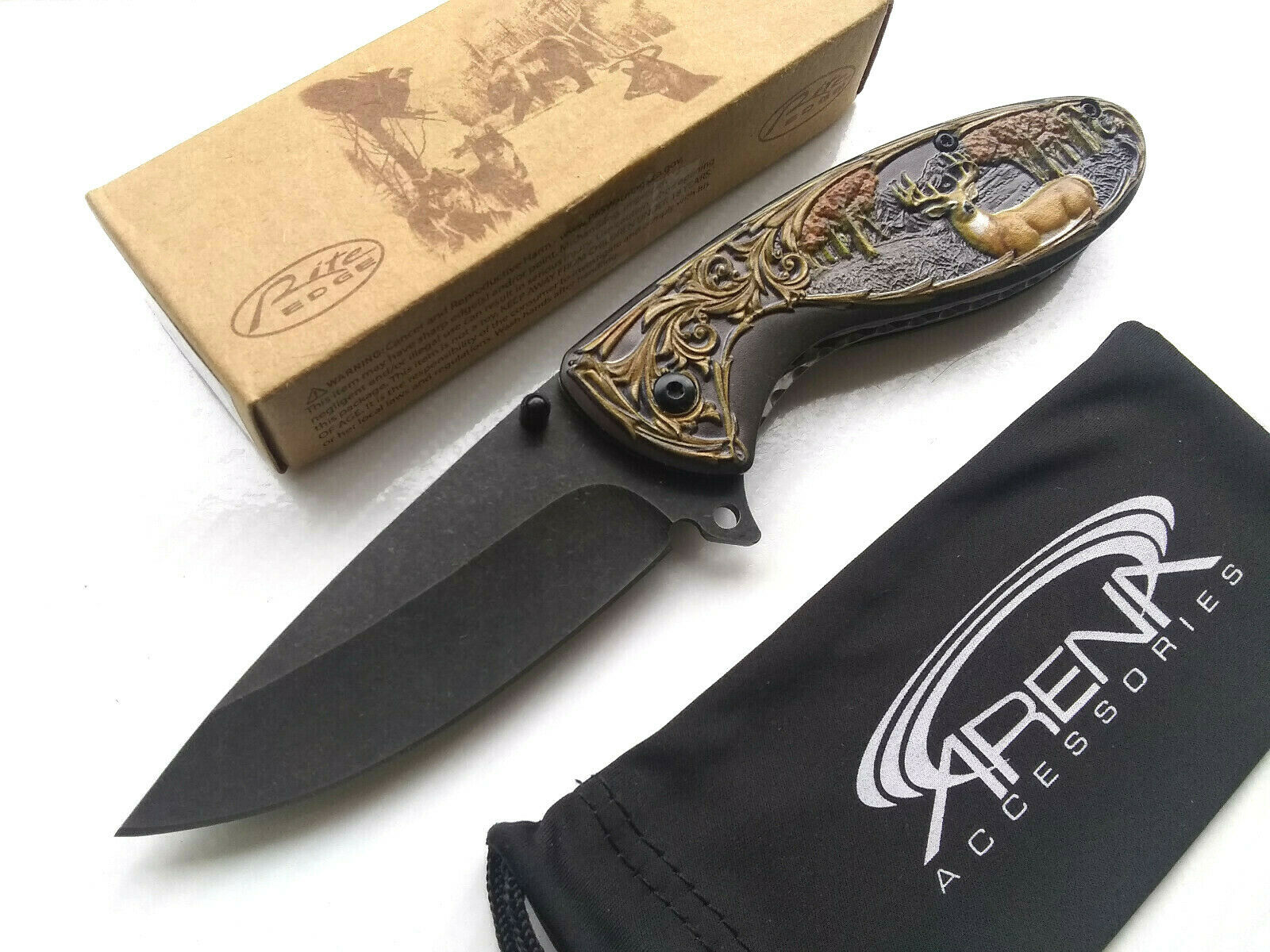 Rite Edge Forest Hunting Deer Design Ornate Honeysuckle Scrollwork Scallop Spring Assisted Pocket Knife EDC Gift