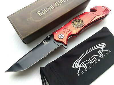 Rough Rider Fire Fighter Gift Manual Open Pocket Knife EMT Paramedic Emergency Rescue Blade Glass Breaker & Seat Belt Cutter EDC Tanto