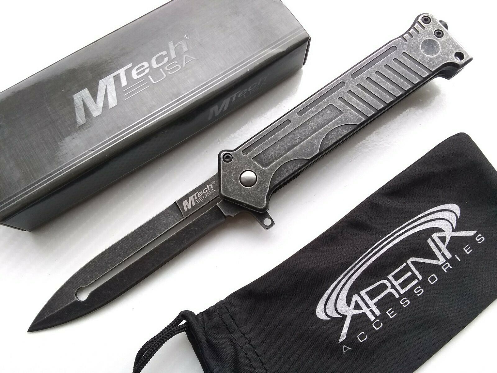 MTech Star Wars Jedi Lightsaber Mandalorian Joker Dagger Blade Spring Assisted Stonewashed Pocket Knife EDC Tip Up
