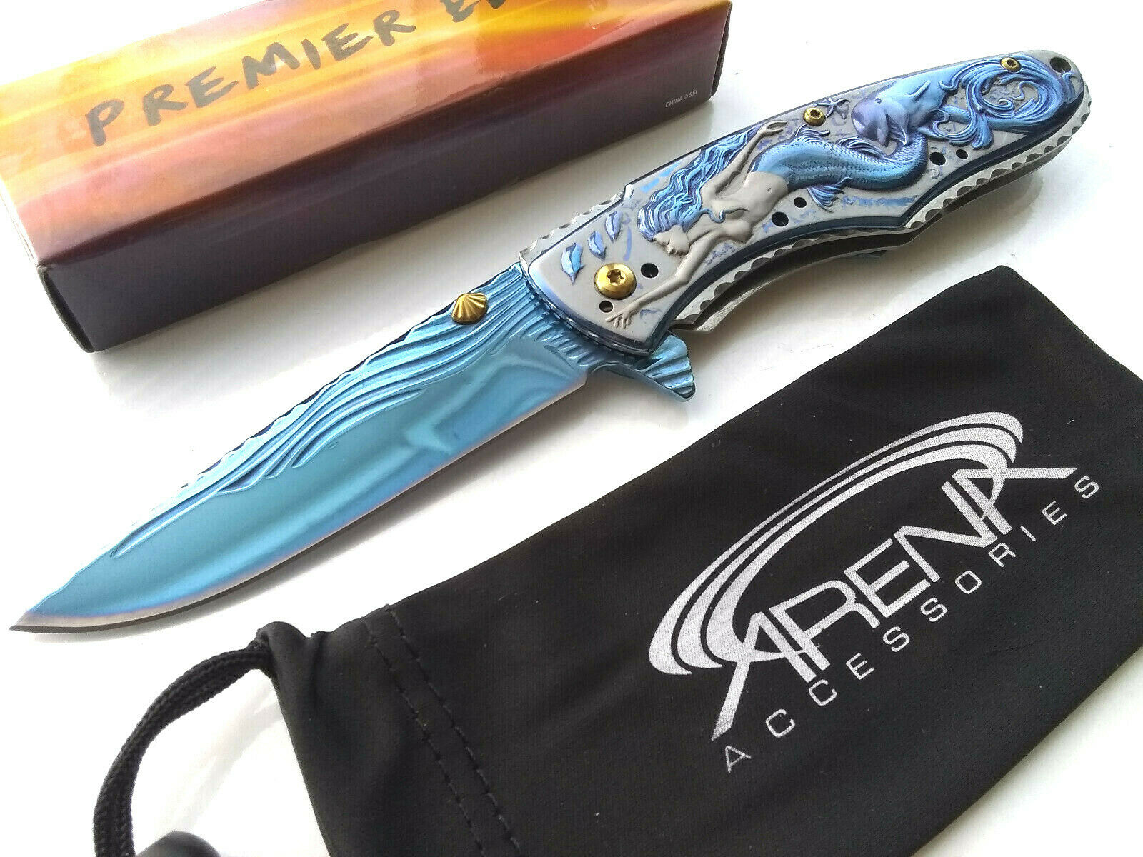 Women's Blue Metallic Ariel Mermaid Dolphin 3D Ocean/Sea Scene Spring Assisted Pocket Knife EDC Ladies