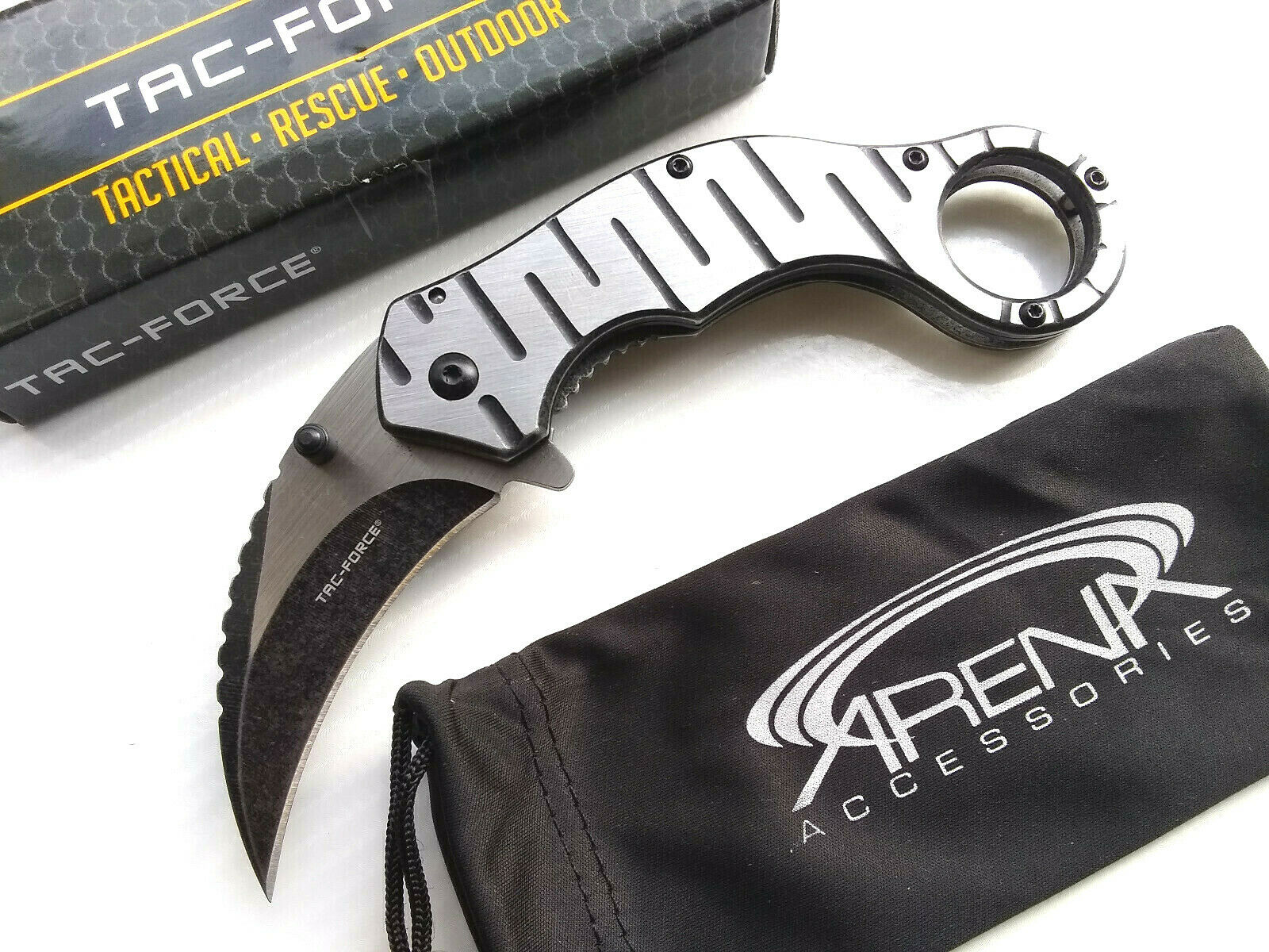 Tac-Force Brushed Metal Frame Lock Hawkbill Karambit Spring Assisted Pocket Knife Finger Hole EDC