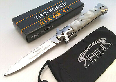 Tac-Force Pearl Spring Assisted Godfather Stiletto Italian Milano Tip Up Carry Mirrored Blade Pocket Knife