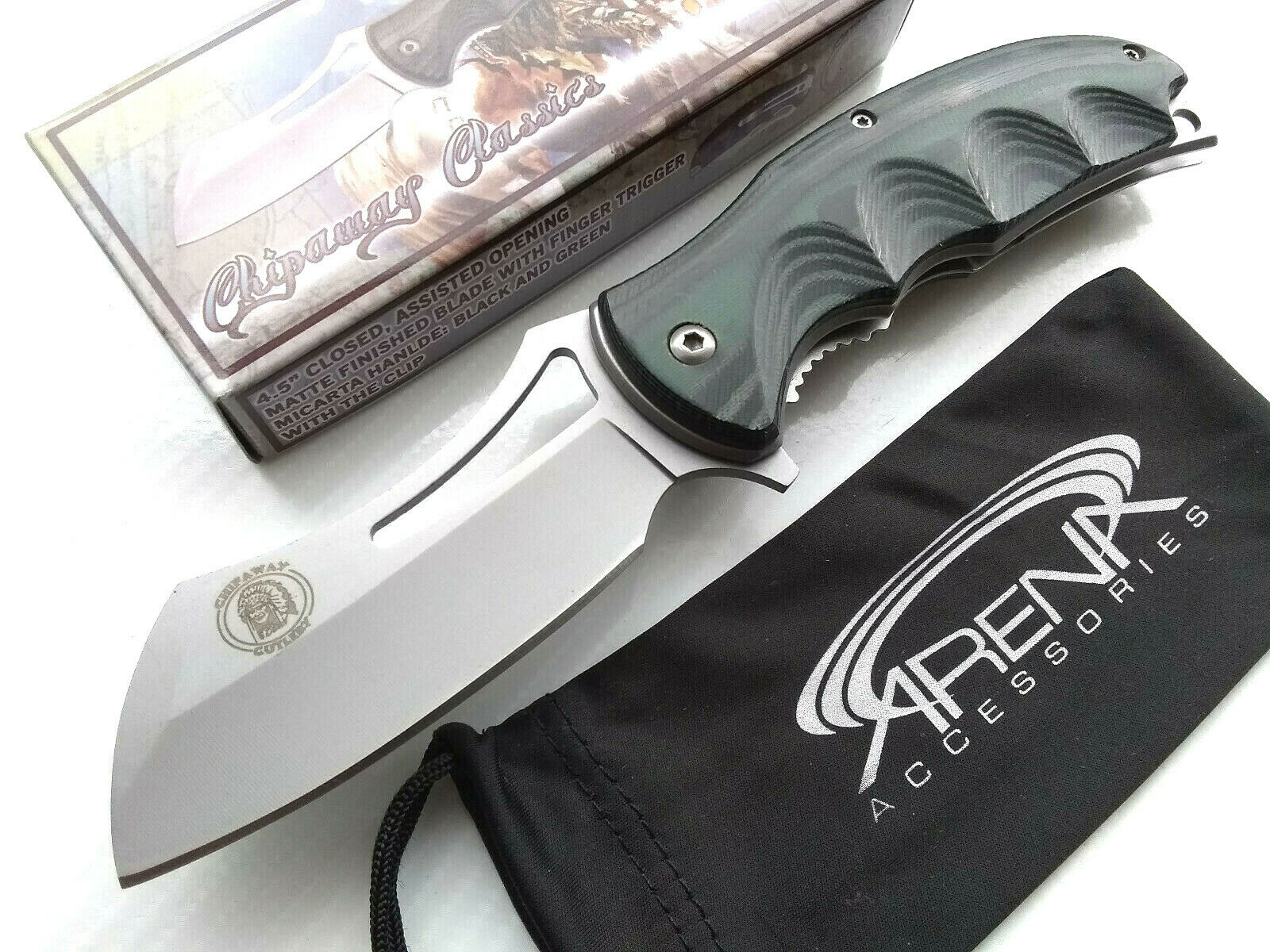 Green Micarta Spring Assisted Pocket Knife Cleaver Blade Deep Carry Flipper EDC