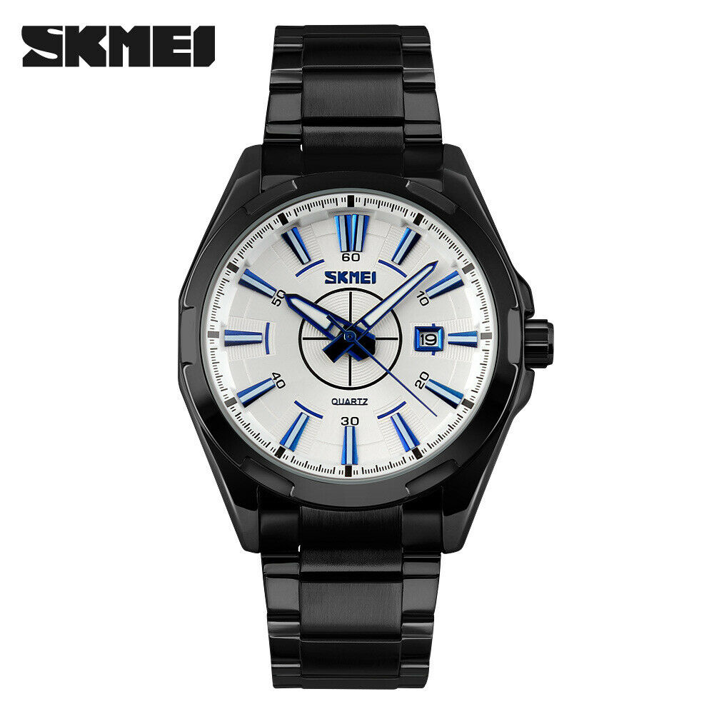 SKMEI Men's Wrist Watch Link Band Japan Seiko Movement EDC Black & Blue White Face