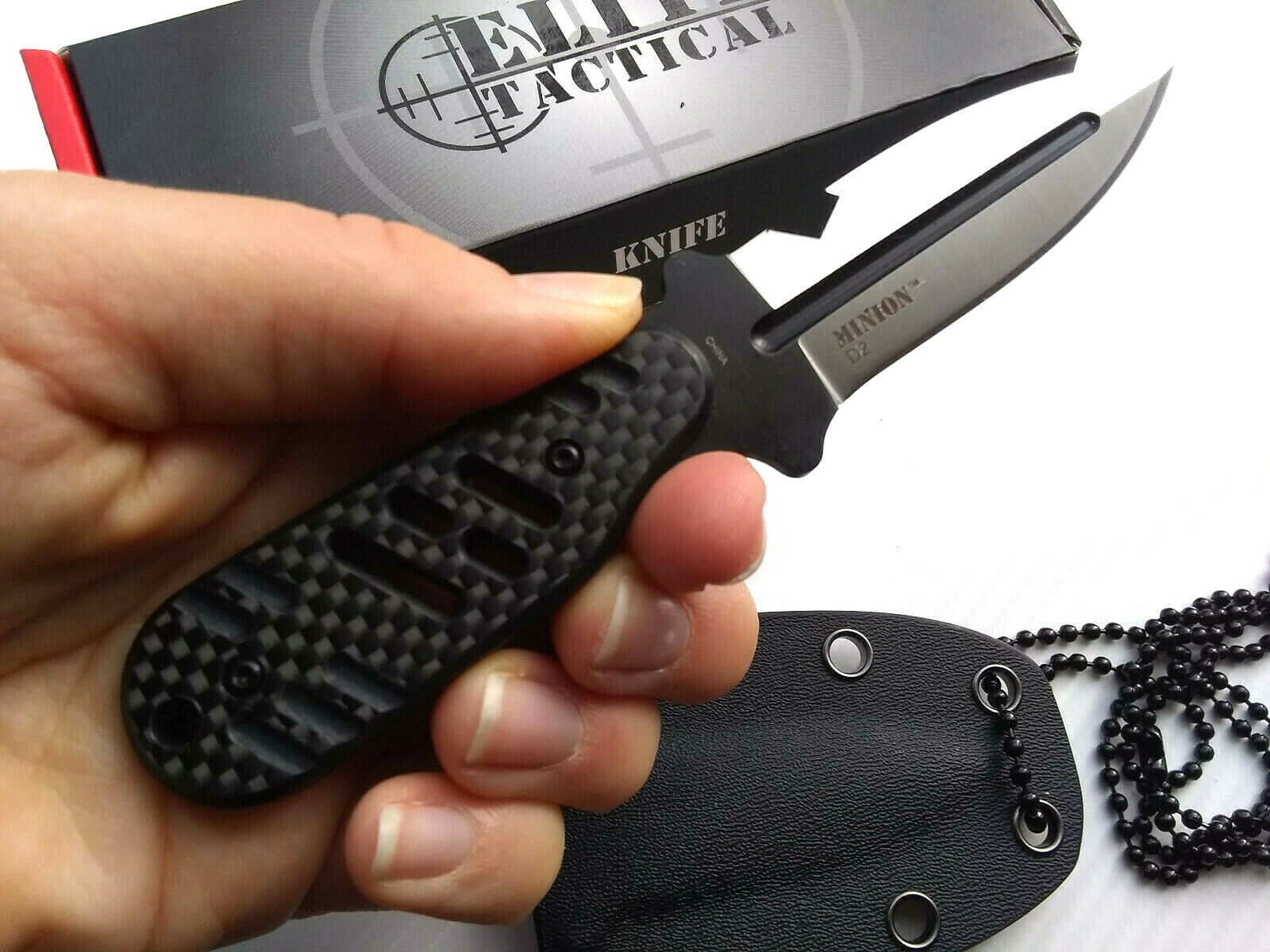 Elite Tactical D2 Carbon Fiber Fixed Blade Neck Knife Horizontal & Vertical Concealed Carry Bottle Opener EDC