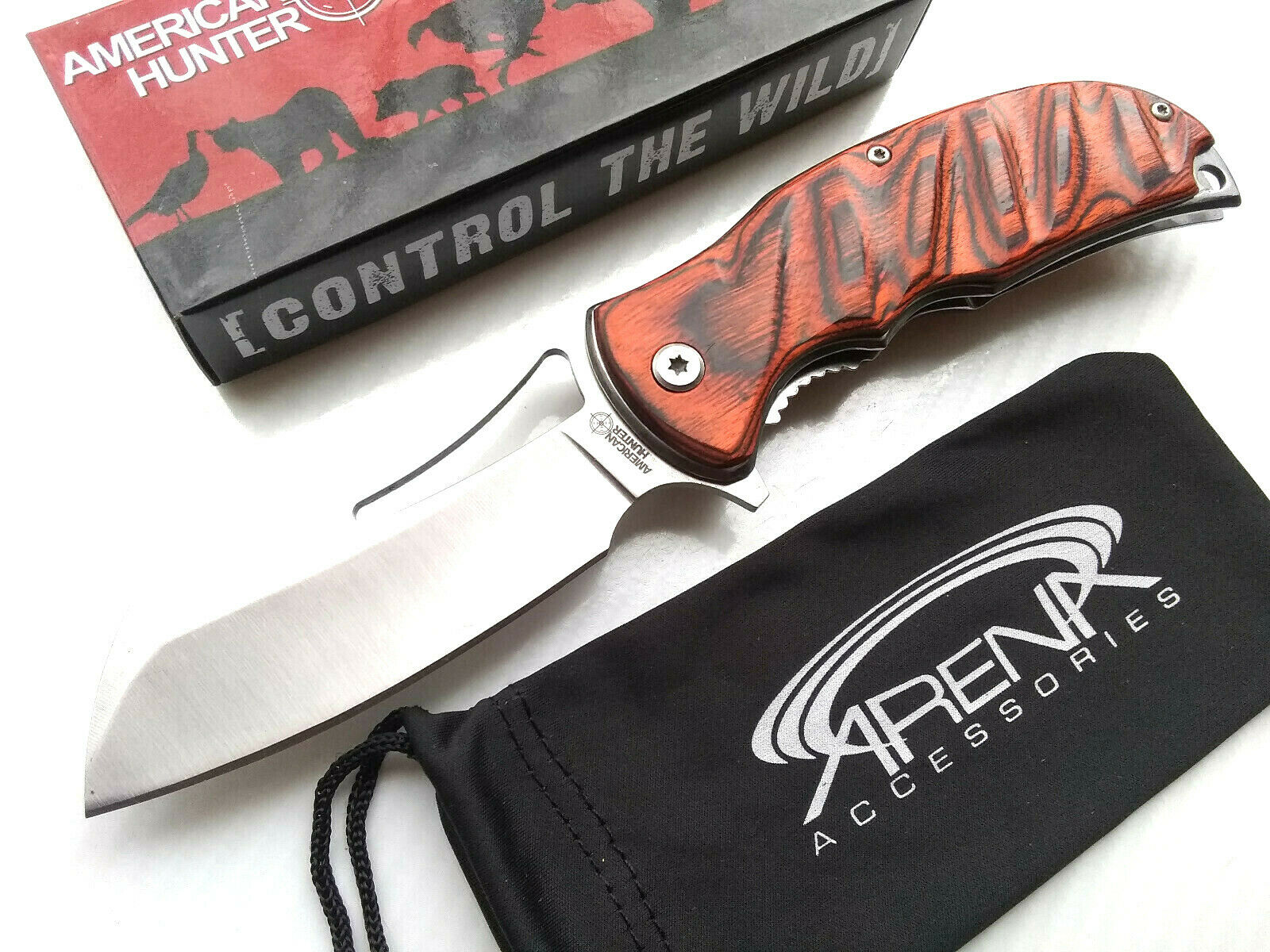 American Hunter Wood Spring Assisted Cleaver Blade Pocket Knife Flipper Deep Carry Clip Liner Lock EDC