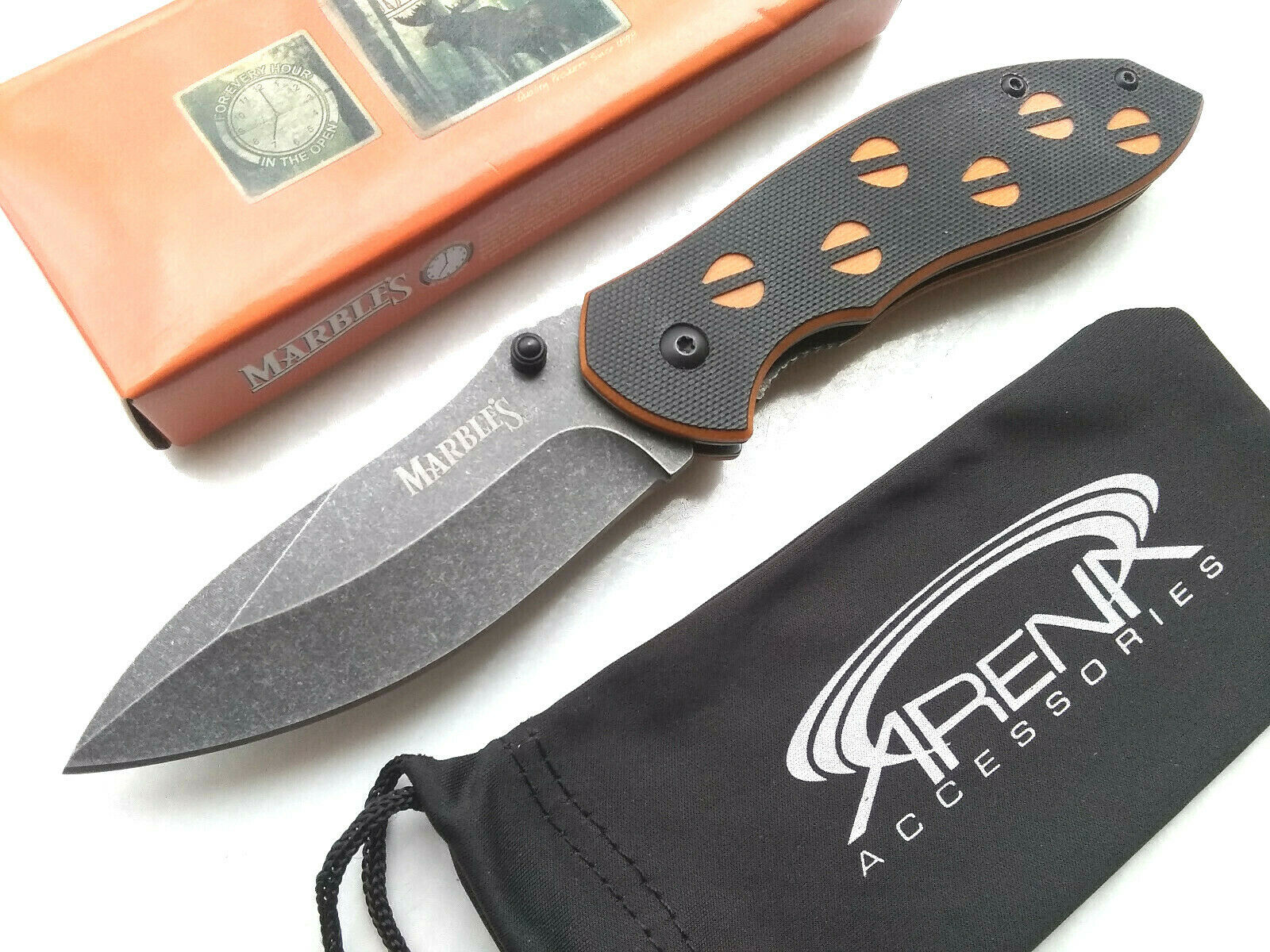 Marble's Orange & Black G10 Spring Assisted Pocket Knife EDC Deer Cutout Tracks Stonewashed Blade