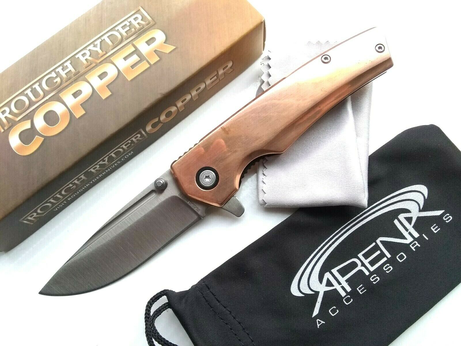 Rough Ryder Japanese VG-10 Steel Manual Ball Bearing Pocket Knife Flipper With Real Copper Scales EDC