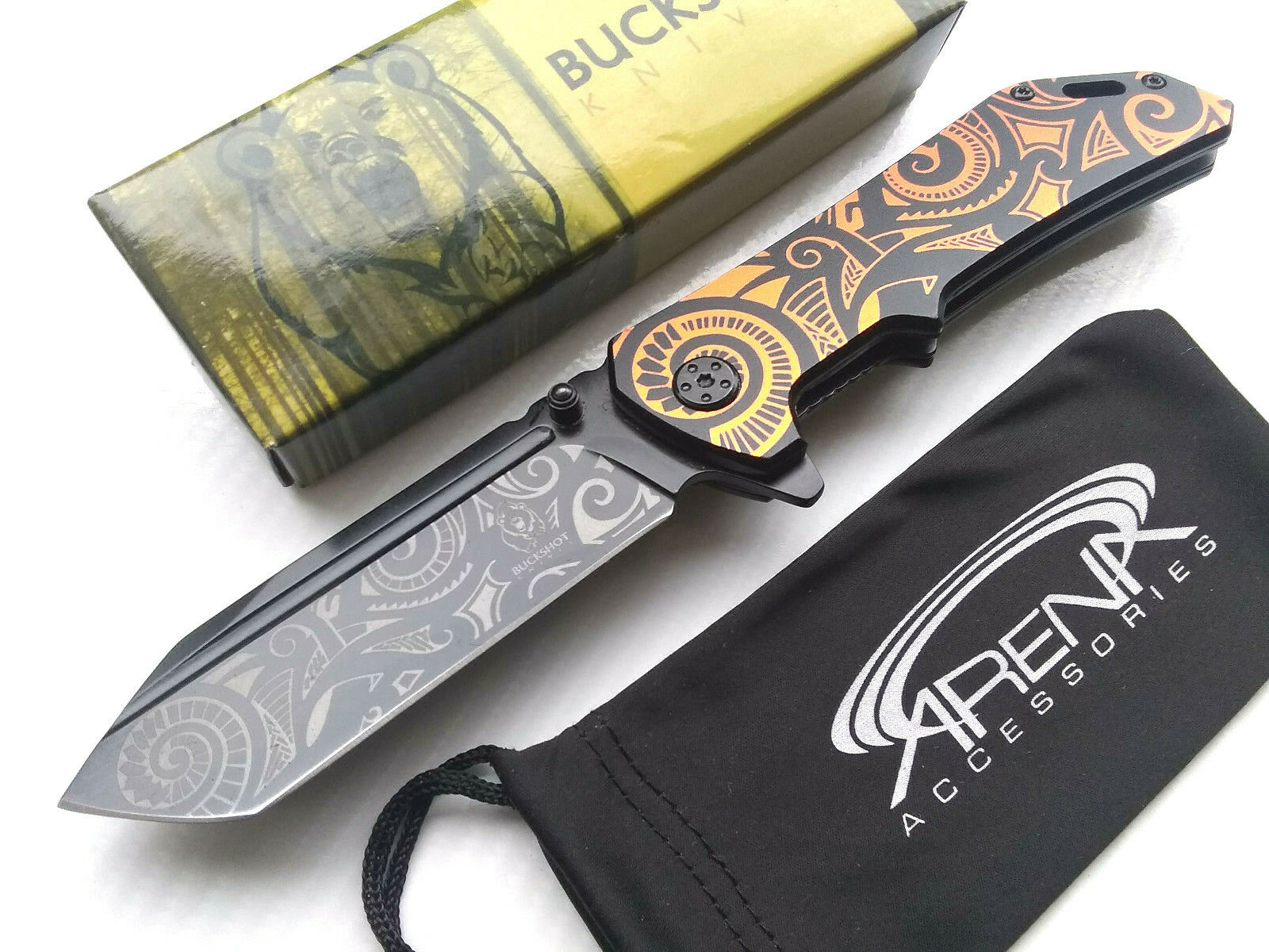 Buckshot Tribal Orange & Black Metallic Spring Assisted Pocket Knife EDC Tanto Flipper Blade