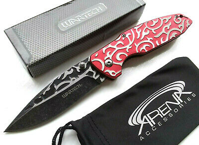 Wartech Ladies Red 3D Engraved Scroll Work Spring Assisted Pocket Knife EDC Stonewashed Tip Up Carry Girls