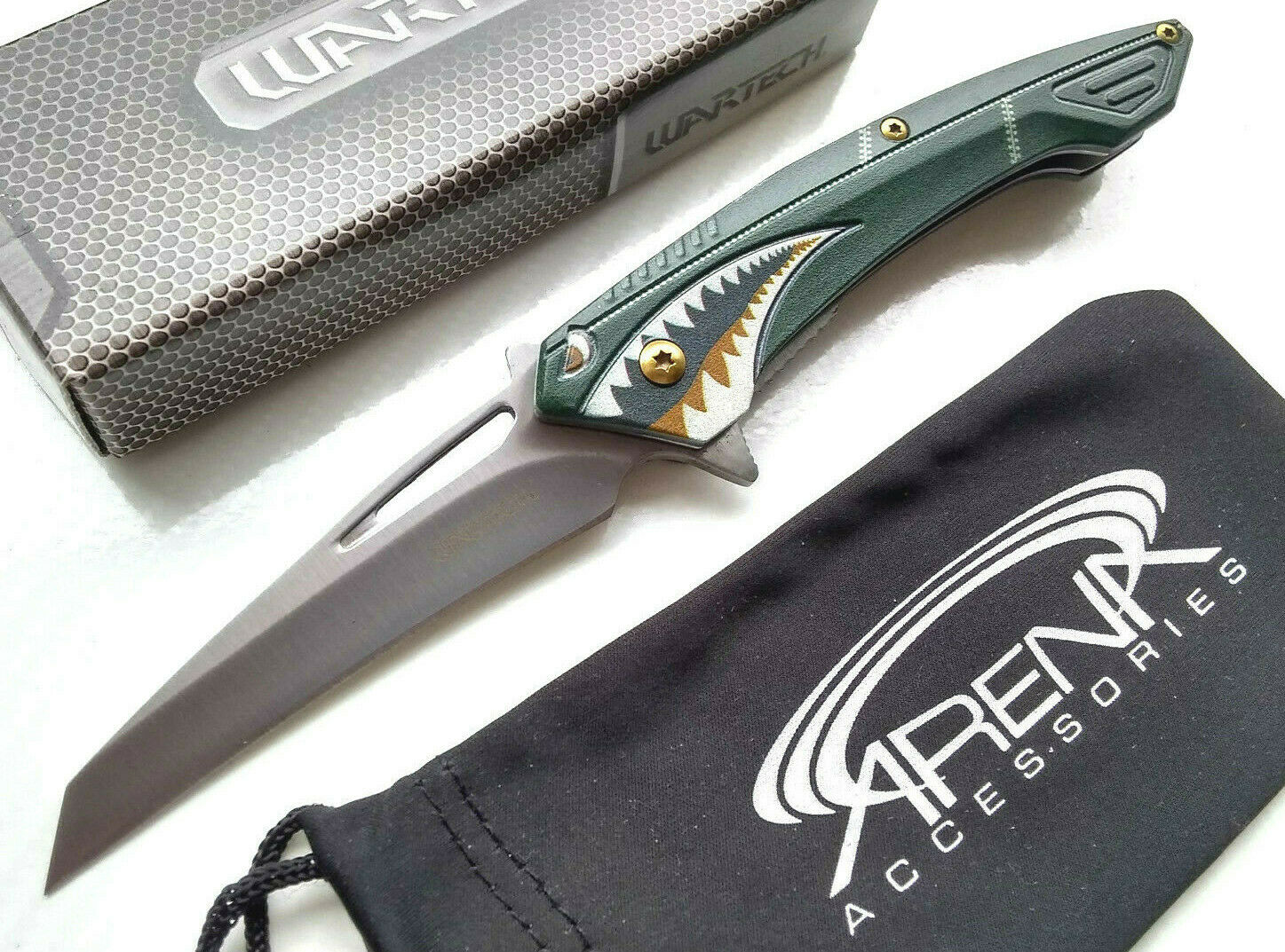 Wartech Green Flying Tiger Air Force Shark Spring Assisted Pocket Knife Wharncliffe Flipper Blade Tip Up Carry EDC