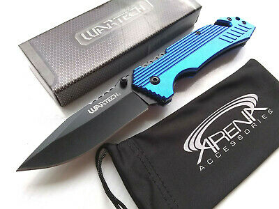 Rescue Pocket Knife Spring Assisted EDC Blade Glass Breaker & Cord Cutter Blue Wartech