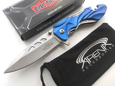 RT-7050BL Beer Bottle Opener Spring Assisted Pocket Knife Flipper Glass Breaker Blue Razor Tactical Rare Discontinued