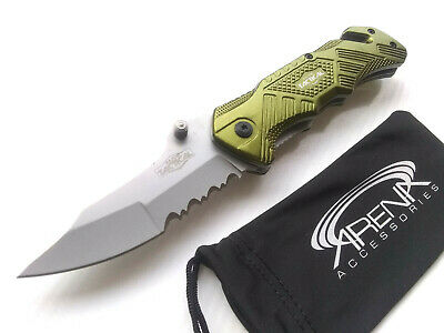 RT-7058GN Rare Discontinued Green Spring Assisted Pocket Knife Rescue Blade Cord Cutter EDC Partially Serrated Razor Tactical