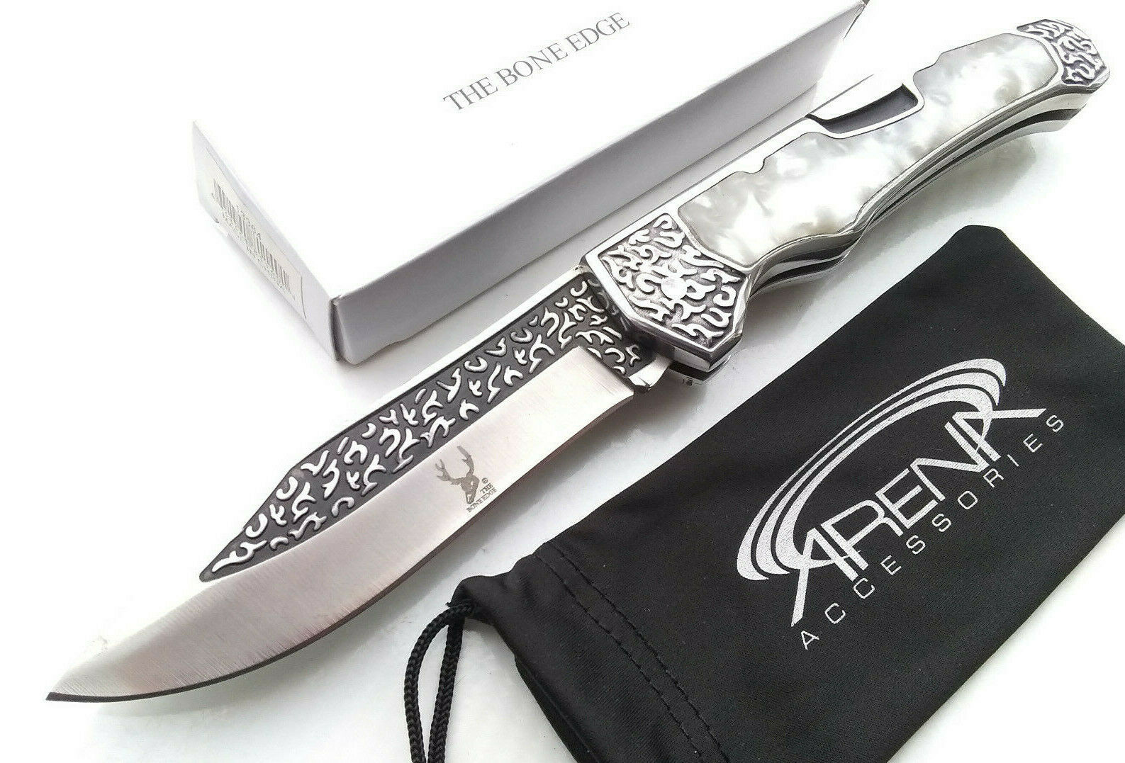 The Bone Edge Handmade Scalloped Manual Open Lockback Pocket Knife 3CR13 Steel Honeysuckle Engraved Pearl Handle EDC