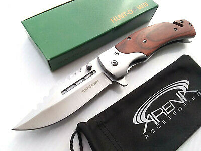 Gentleman's Hunt-Down Sawback Blade Spring Assisted Pocket Knife Wood Handle w/ Rescue Glass Breaker & Cord Cutter EDC