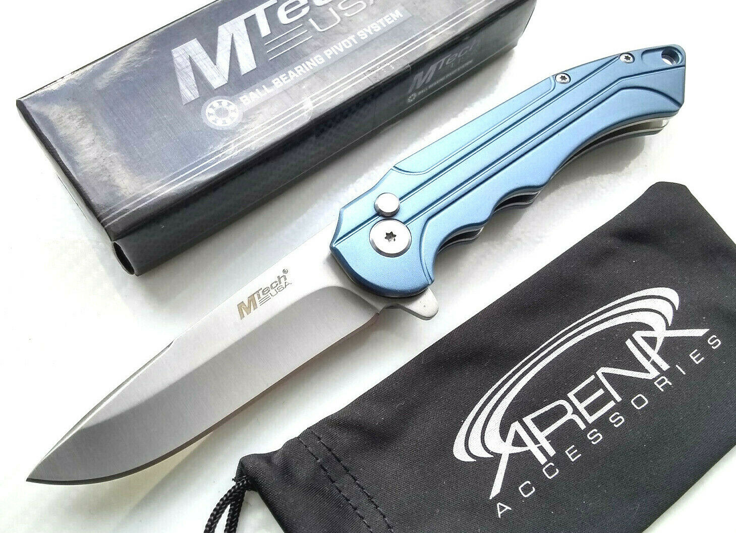 Blue Manual Button Lock Ball Bearing Pivot EDC Pocket Knife Fine Edge Blade MTech