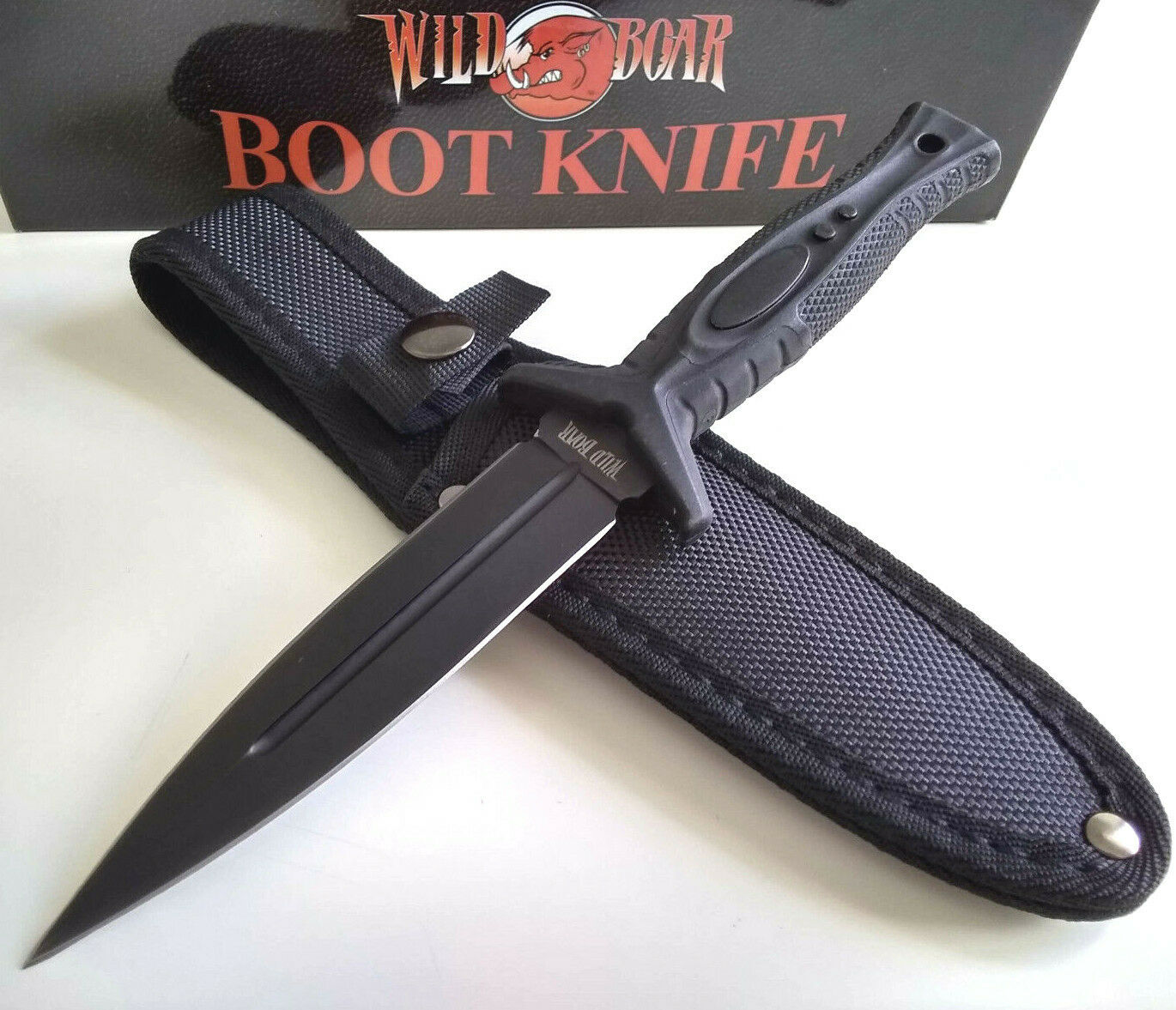 Wild Boar Dual Double Edged Fixed Blade Boot Knife Concealed Carry Survival w/Sheath EDC