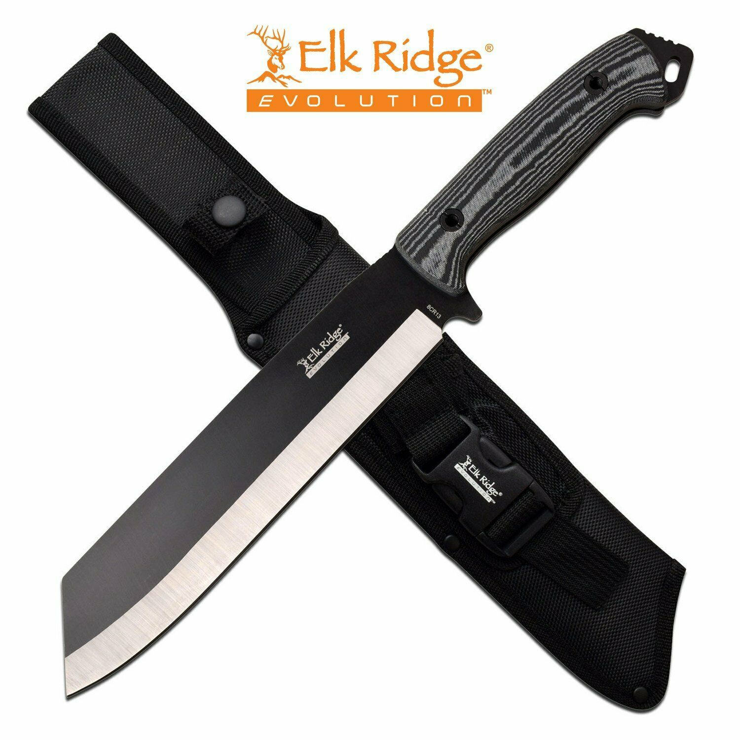 Elk Ridge Evolution Full-Tang Bowie Fixed Blade Knife Wharncliffe 4mm Thick Micarta Handle 8Cr13 Steel