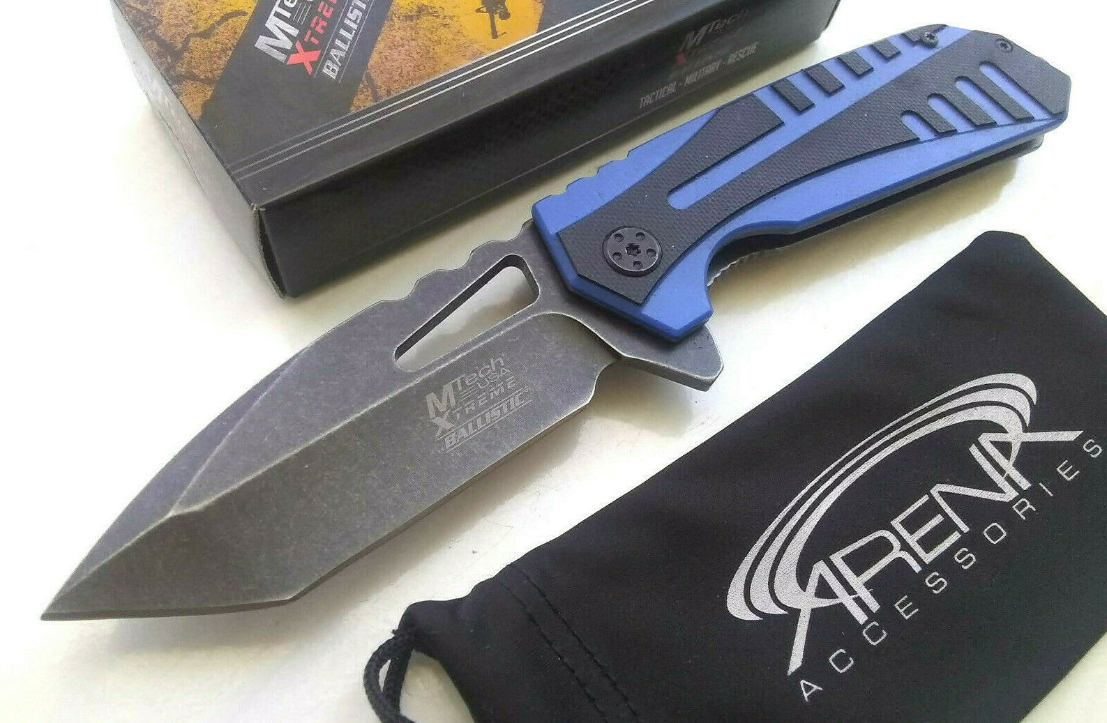 MTech Xtreme 4mm Thick Tanto Blade Spring Assisted Pocket Knife Flipper Blue G10 Stonewashed EDC Frame Lock