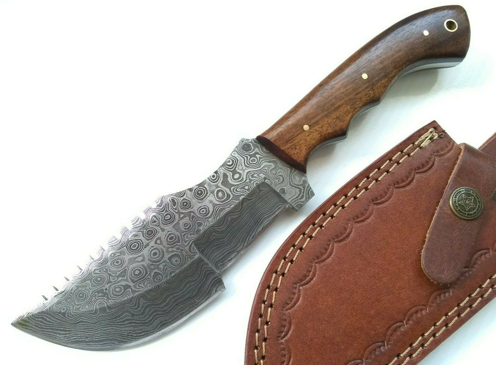 1095 & 5N20 High and Low Carbon Steel Damascus Hunted Movie Replica Tom Brown Tracker T-3 Huntsman Fixed Blade Knife w/ Sheath