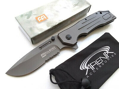 Milspec Gentleman's Heavy Duty Gray Ti Spring Assisted Pocket Knife Flipper EDC Tip Up Blade