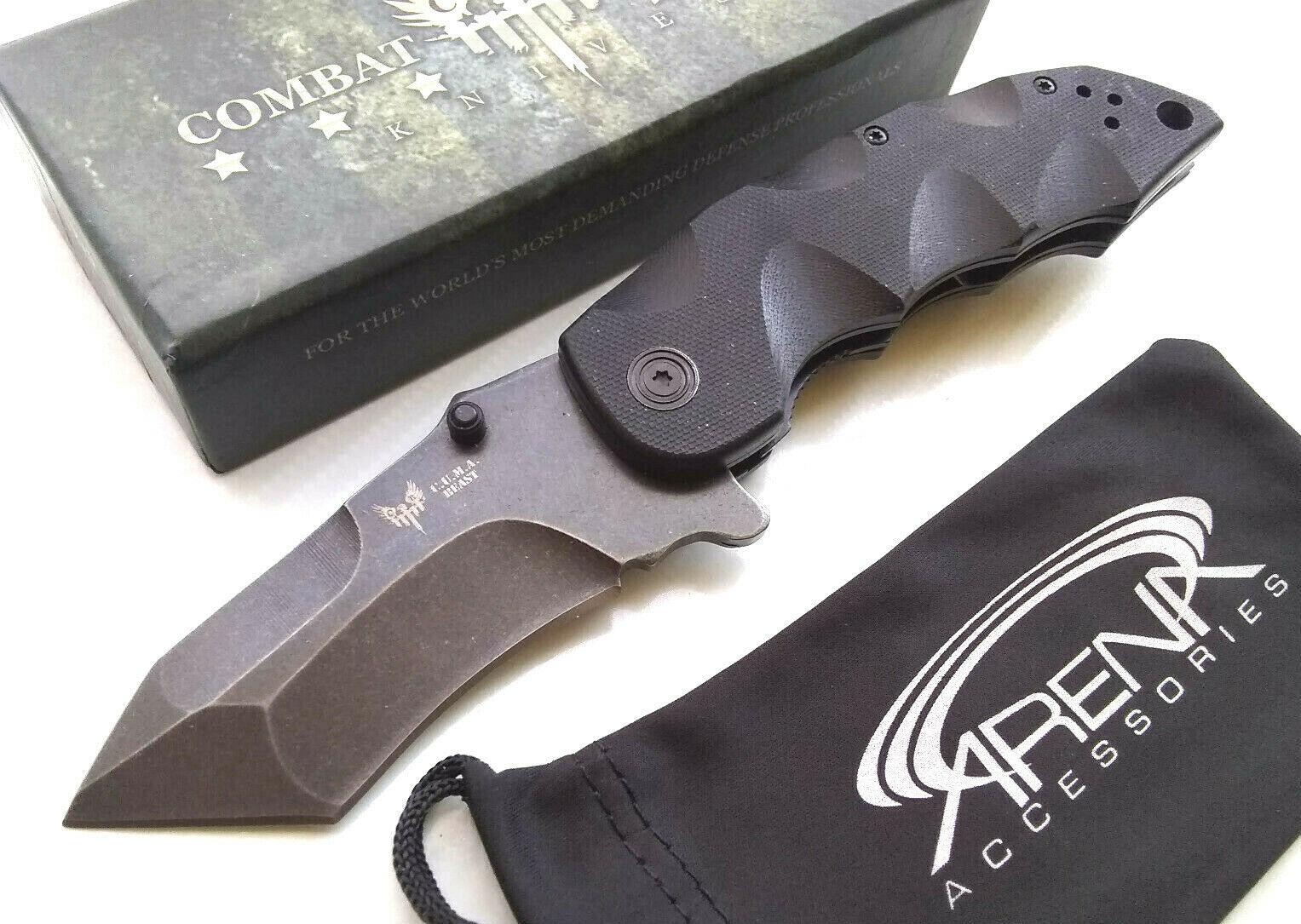 CUMA Beast Tanto Manual Open Pocket Knife G10 Handle Stonewashed AUS-8 Steel Blade EDC Flipper Combat Ready
