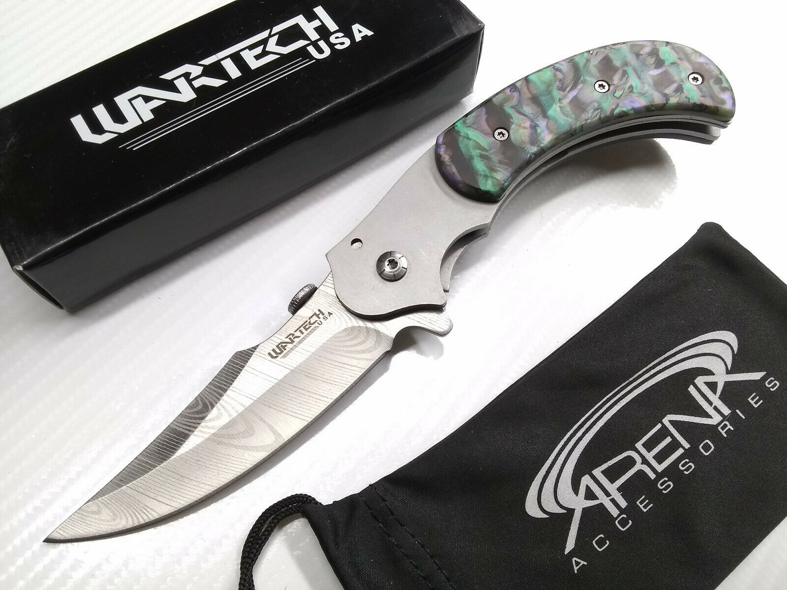 Abalone Faux Etch Damascus Spring Assisted Trailing Point Blade Pocket Knife Frame Lock Flipper EDC