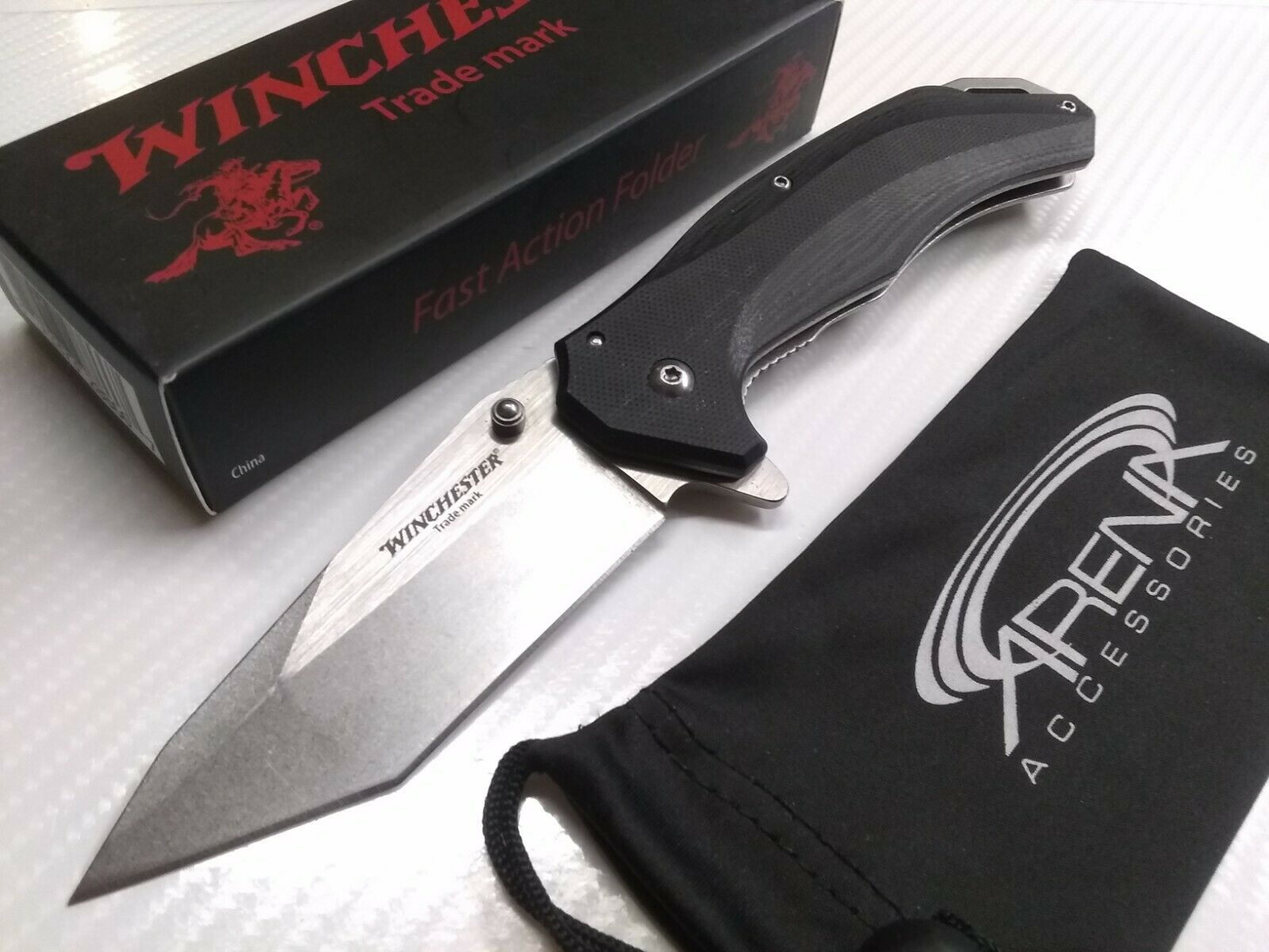 Winchester 7Cr17MoV Steel Frame Lock Tanto G10 Spring Assisted Pocket Knife Tip Up Carry EDC Clip