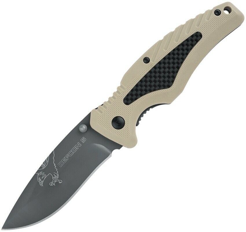 Defcon 5 Bravo Tactical Carbon Fiber Insert/GFN Spring Assisted Pocket Knife Folder 8Cr13 EDC