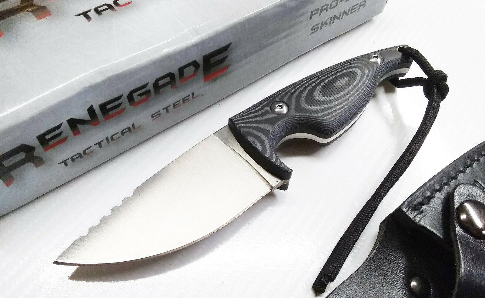 Renegade Micarta Fixed Blade Knife Concealed Carry Leather Holster 7Cr17 Skinner EDC Blade