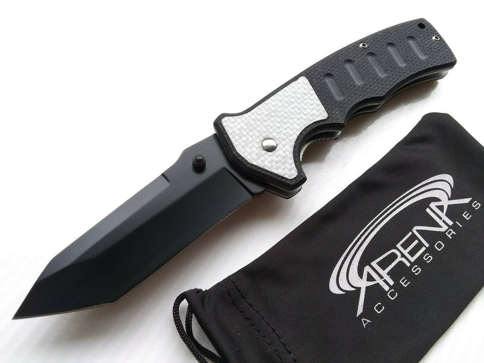 G10 & Silver Carbon Fiber Insert Manual Open Pocket Knife EDC Black Tanto Blade