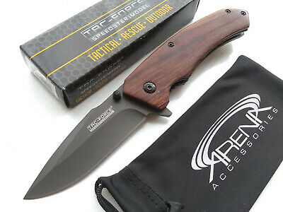 Gentleman's Wood Spring Assisted Pocket Knife Tip Up Carry Gray EDC Harpoon Blade