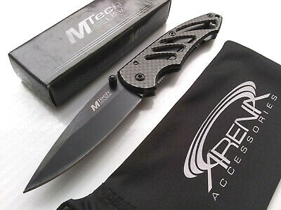 Mini Black Faux Carbon Fiber Manual Open Pocket Knife Frame Lock Small EDC Deep Carry