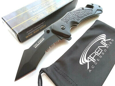 Curved Tanto Partially Serrated Spring Assisted Pocket Knife EDC Survival Glass Breaker & Cord Cutter