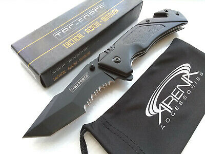Black Tanto Partially Serrated Spring Assisted Pocket Knife EDC Survival Glass Breaker & Cord Cutter