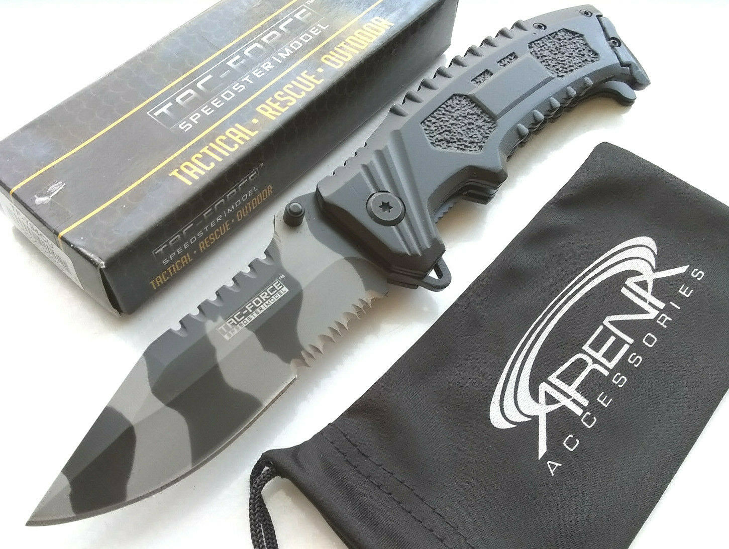 Urban Camo Tiger Stripe Serrated Blade Pocket Knife Spring Assisted EDC Flipper