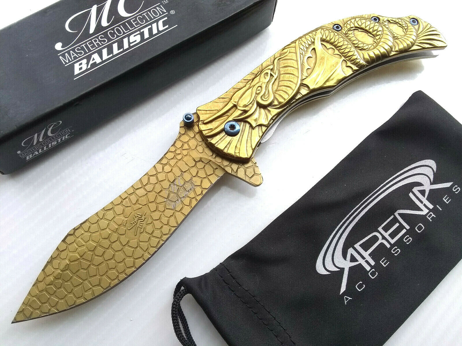 Rare Discontinued Gold Fantasy Dragon Scales Spring Assisted EDC Pocket Knife Blade