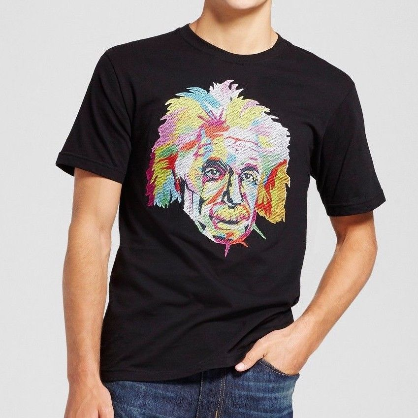 Albert Einstein Face Adult T-Shirt Neon Rainbow Thread Pixel Black Tee Men XL