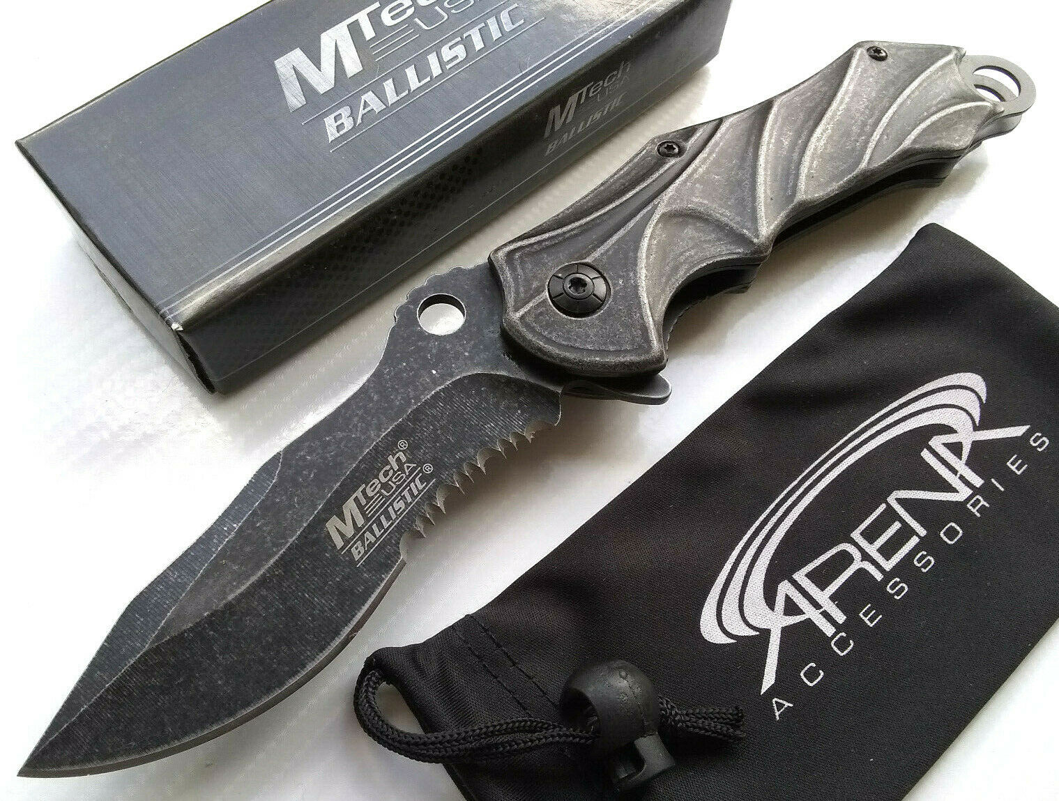 Recurve Kukri Serrated Stonewashed Blade Gray Flipper Spring Assisted Pocket Knife EDC MTech MT-A888SW Dicontinued