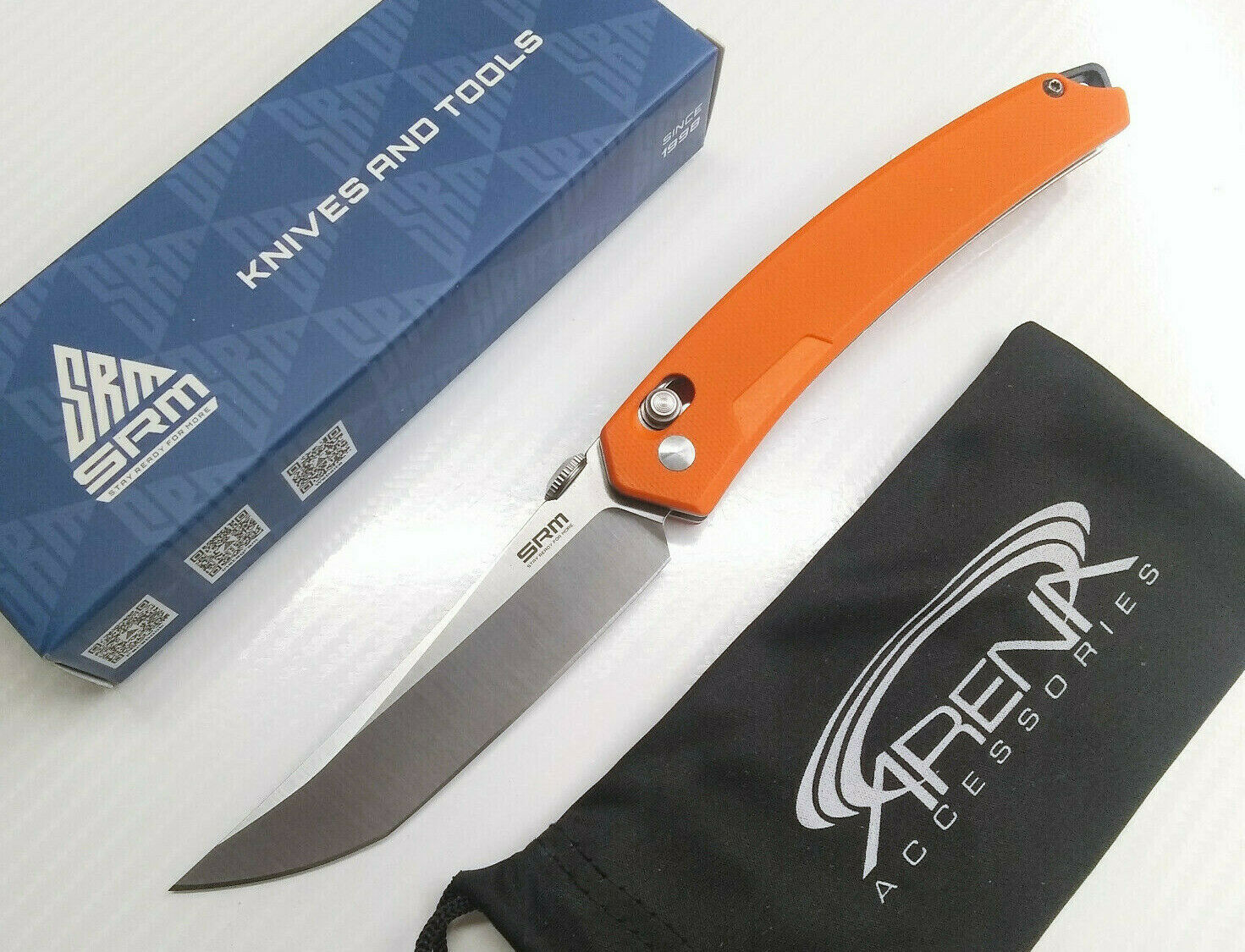 SRM 9211GJ Slim Gentleman Pocket Knife Axis Lock 8Cr13MoV Blade Orange G10 Sanrenmu