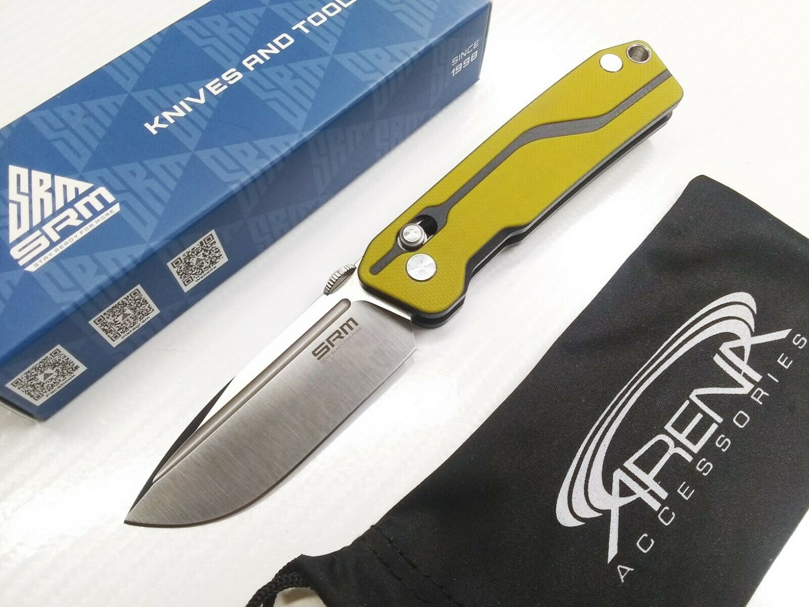 SRM 7228 Sanrenmu Axis Lock D2 Pocket Knife Yellow G-10 Small Light 2.5 oz EDC