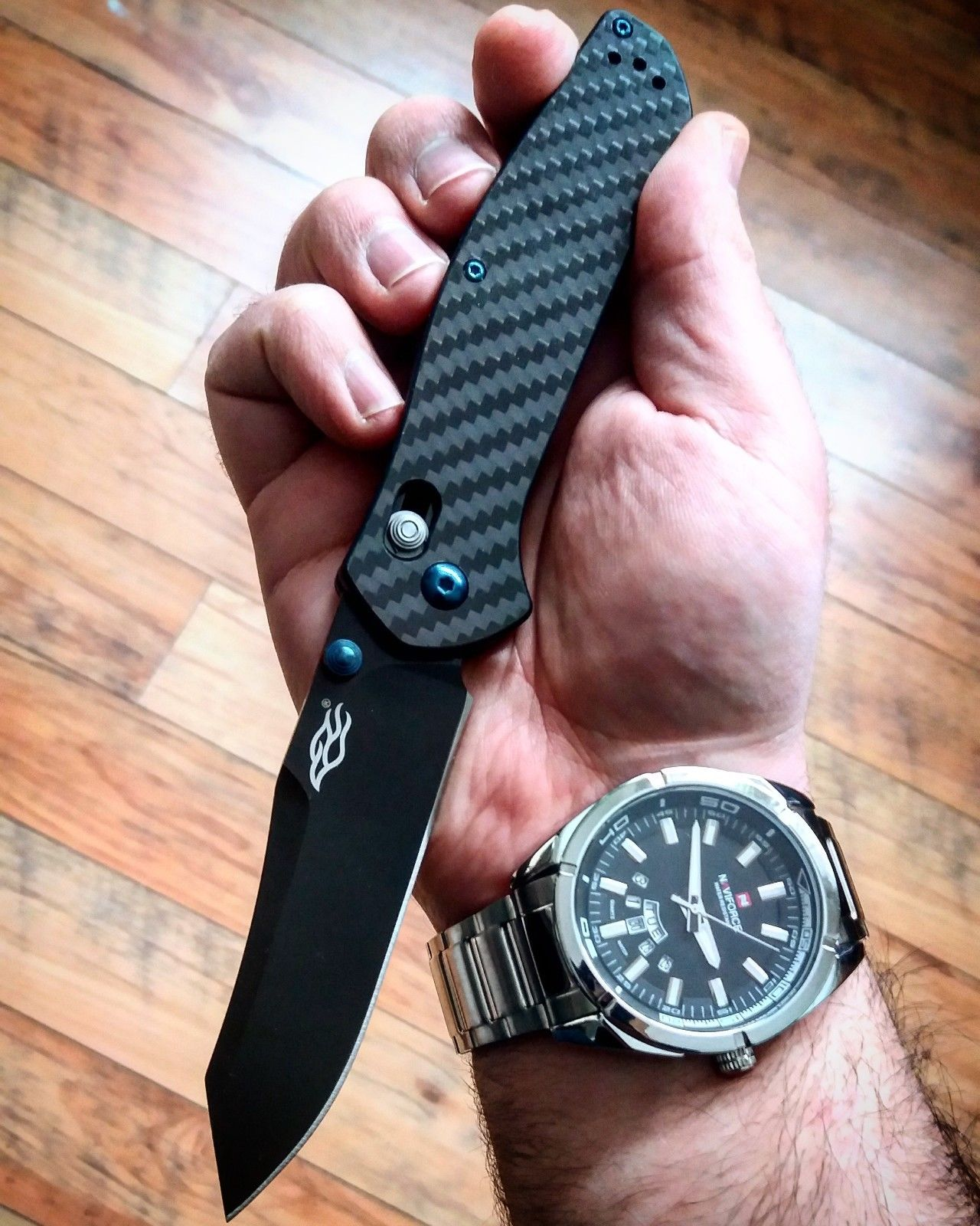 GANZO Firebird F756 REAL Carbon Fiber CF Axis Lock Quality 440C EDC Pocket Knife