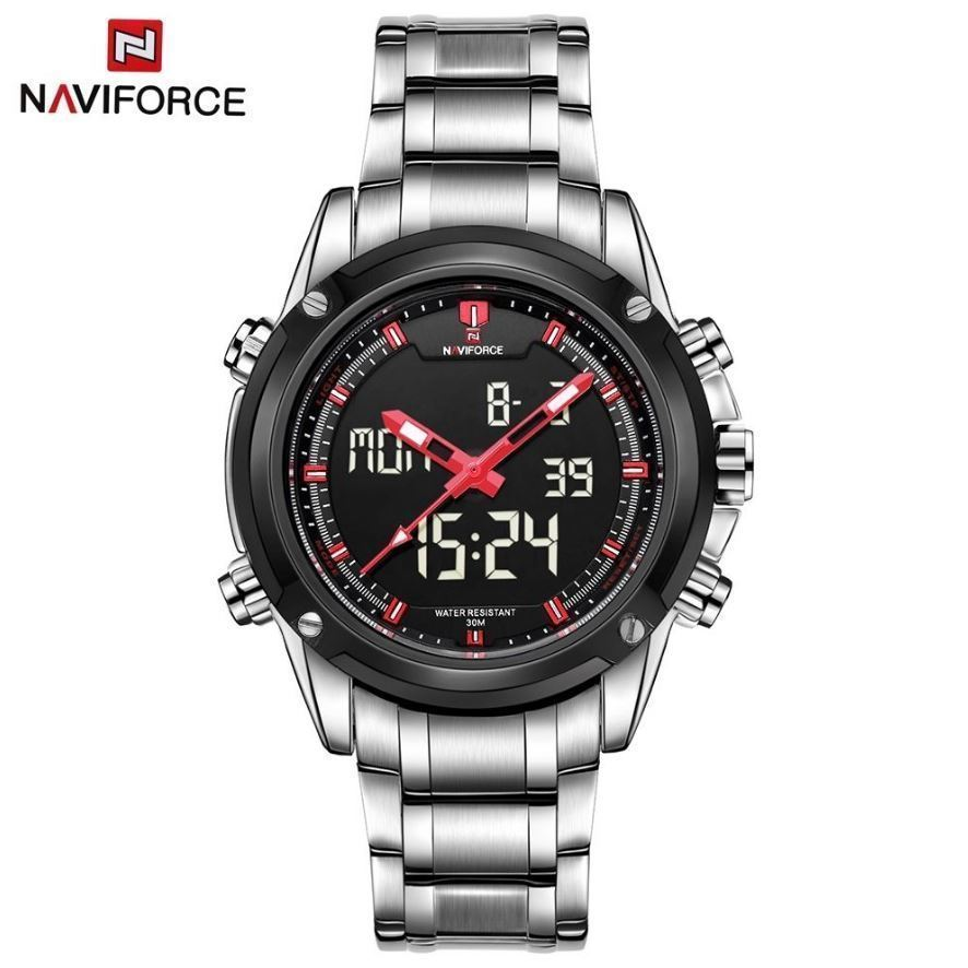 NAVIFORCE Watch w/ Japan SEIKO Movement Dual LCD Analog Diver Men Stainless Band