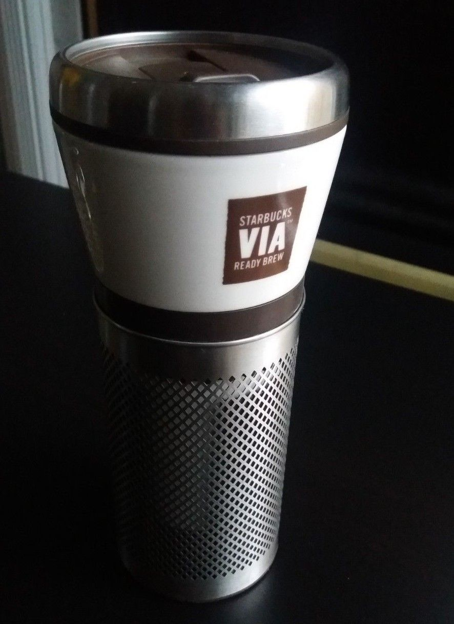 Starbucks Coffee VIA Ready Brew Ceramic Metal Travel Tumbler Mug 16 oz 2010 RARE